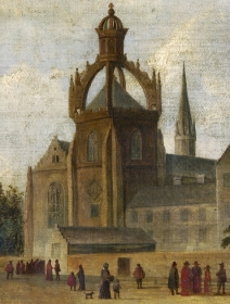Anonymous view of King's College from c1630. This shows the school as a long building, with crow-stepped gable end and one square window