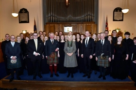 The Duke and Duchess of Rothesay attended the launch event of a new album of Robert-Burns inspired music by Paul Mealor and the University of Aberdeen Chamber Choir