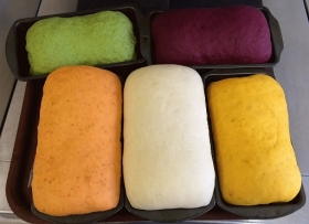 Some colourful breads made by the team