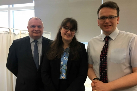 Emma Bowden with John Davidson, Vice-Principal at NESCOL (left) and Prof Alan Denison, Head of undergraduate medical education at the University of Aberdeen (right)