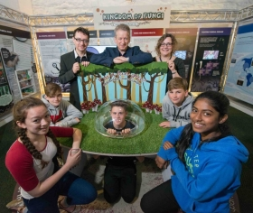 Members of the Public Engagement team and University of Aberdeen Fungal Group with pupils from Cults Academy at the new Kingdom of Fungi exhibition