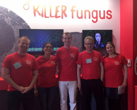 Members of the Killer Fungus exhibition team at the Royal Society Summer Science Exhibition in London