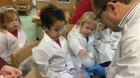 Dr Wael Houssen delivered special science classes to nursery school children in Aberdeen