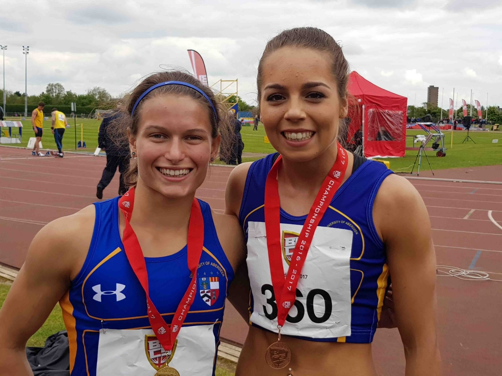 2c0e30b4d Zoey Clark (left) and Kelsey Stewart celebrate winning gold and bronze  respectively at the BUCS Outdoor Championships   Image: Eddie McKenna ...