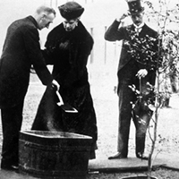 Queen Mary planting tree