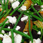 ... beetroot, green bean and goats cheese salad with ciabata croutons