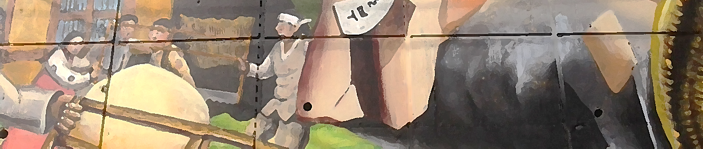 A banner across the top of the blogpost that shows an abstract painting of people on tiles. The people are blurry in the image.