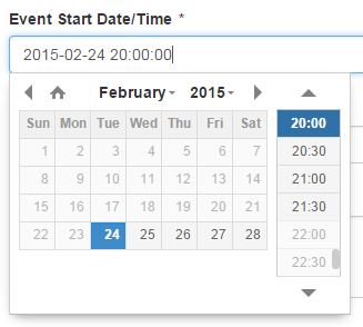 Select date/time from calendar